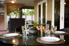 Dine outside on our covered patio